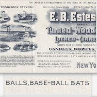 Baseball Bat Maker 1902 E.B. Estes NY Business Illustrated Billhead Wood Novelty