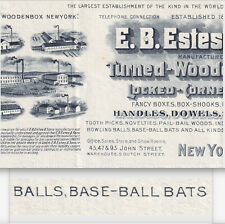 Baseball Bat Maker 1902 E.B. Estes NY Business Illustrated Billhead Wood Novelty