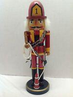 "Vintage Military Fireman Wooden Nutcracker 14"" Tall *Missing Beard* Christmas"