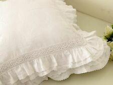 1pc Handmade White Embroidery Lace Ruffle Cushion Cover Sofa Pillow Case
