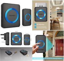 Wireless Door Bell Home Doorbell Plug In Cordless Loud Chime Blue LED Flash Wifi