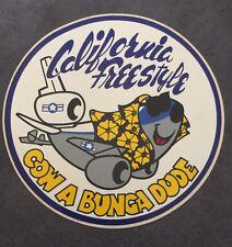 VINTAGE CA  Freestyle Cow A Bunga Dude TRAVEL RV  Car Souvenir Decal  STICKER