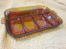 1960s Iridescent Amber Carnival Glass Fruit Tray w/ 5 Sections and handles