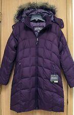NEW Eddie Bauer Classic Womens Long Hooded Down Parka Jacket XS Plum Purple