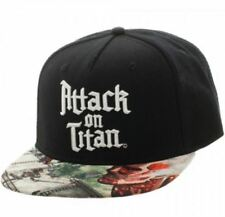 NEW ATTACK ON TITAN SUBLIMATED BILL SNAPBACK CAP BLACK ANIME OFFICIALLY LICENSED
