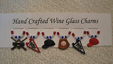 """"""" BASEBALL """" THEMED SET OF 6 HAND CRAFTED WINE GLASS CHARMS"""