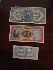 Vintage Lot of 3 Chinese Bank Notes 1936 1 Yuan 1940 100 Yuan & 1940 Ten Cents
