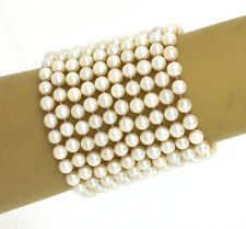 "Magnificent 14k Yellow Gold 6.2mm Akoya Pearls Mulit-Strand 2.5"" Wide Bracelet"