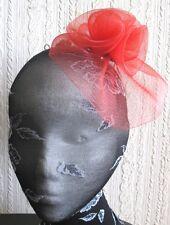 Red Flower Fascinator Millinery Broche Clip Mariage Chapeau Cérémonie Ascot Course