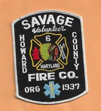 """SAVAGE VOLUNTEER FIRE CO HOWARD COUNTY MARYLAND PATCH 4 3/4"""" X 3 5/8"""""""