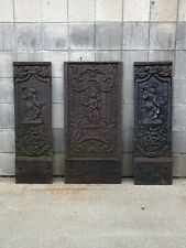 Lot of 3 Vtg Antique Victorian Architectural Salvage Cast Iron Panels Embossed
