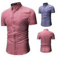 Men's Plaid Checkered Button Down Casual Short Sleeve Regular Fit Dress Shirt US