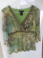 INC Green Floral Paisley 3/4 Sleeve V-neck Empire Waist Top Sz Large