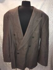 Giorgio Armani Mens 2 pc Suit Set Brown Print Wool 46 L Long Jacket Pants