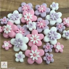 32 EDIBLE PINK LILAC WHITE FLOWERS Cake Cupcake Toppers Decorations Wedding Baby