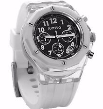 Rumba Time Mens Mercer Snow Patrol 45MM Clear White Acrylic Black Dial Watch NIB