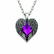 Purple Gothic Stone Heart Necklace Angel Wings Cosplay Alternative Emo Punk