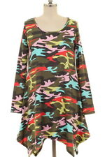 NWT Plus 1XL 12/14 Camo Camouflage Asymmetric Pink Aqua Jersey Knit Dress Tunic