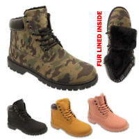 LADIES LACE UP WINTER GRIP SOLE HIKING WOMEN COMBAT ARMY WALKING SHOES BOOTS SZ
