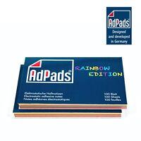 AdPads® elektrostatisch selbstklebende Haftnotizen Rainbow Edition | 100 x 68mm