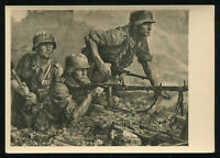 WW2 WWII Germany 3rd Reich Postcard Hoffmann German Hitler Army Soldier MG Nest