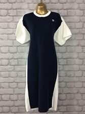 ADIDAS ORIGINALS LADIES UK 10 HYKE KNIT TSHIRT DRESS NAVY WHITE RRP £135.00 !!!
