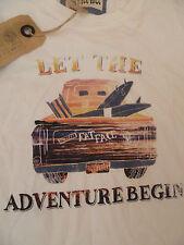 Fat Face Surf Viaje Board deja que la aventura comienza Camiseta Camiseta XS Hombre Adolescente Blanco