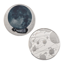 WR 2018 Planet Coin The Moon Colored Silver Medal Astronomical Fan Birthday Gift