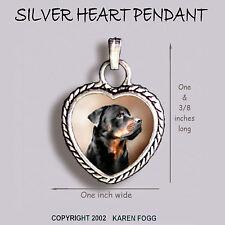 Rottweiler Dog - Ornate Heart Pendant Tibetan Silver
