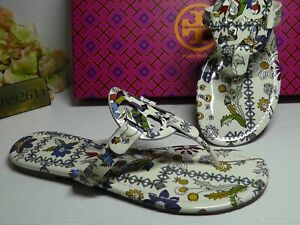 Tory Burch IVORY MEADOW Floral Patent Leather Miller Thong Sandals Size 8***NIB*
