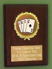 Poker/Blackjack/Card Playing Award Plaque 4x6 Trophy FREE engraving