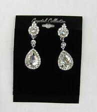 Silver Rhinestone Clear Crystal Dangle CLIP ON Earrings #  0271 Wedding Bridal