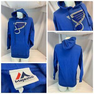 St. Louis Blues Majestic NHL Hoodie L Men Blue Cotton Poly Sewn Logo YGI B1-237