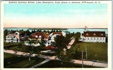 Cliff Haven, Ny Lake Champlain Catholic Summer School Crab Island Postcard