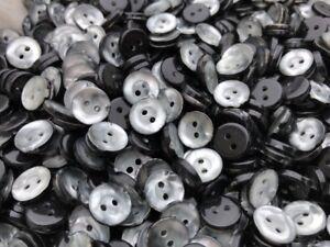 """HOT! 50 Imitation Shell Smoke Grey Poly Button  11mm 7/16"""" Shirt Size 2hole"""