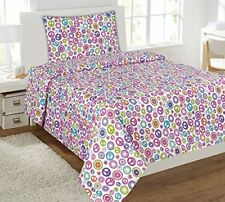 Fancy Linen 4pc Full Size Sheet Set Teens Peace sign Hearts White Pink New
