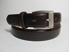 "Men Brass Buckle Dark Brown Leather Belt 38"" #523B"