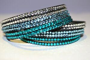 Swarovski style, soft flock fabric rhinestone wrap bracelet - turquoise blue