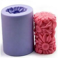 3D Sunflower Daisy Cylinder Candle Soap Mould Flexible Silicone Handmade Mold