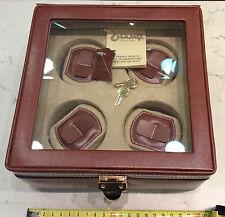 Funda porta relojes 4 pezzi en cuero marrón medidas cm 20,5 x 20,5 x 10