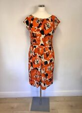 LAURA ASHLEY OCCASION ORANGE, BLACK & IVORY PRINT SILK DRESS SIZE 16