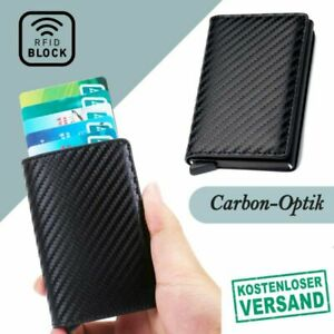 Kartenetui Geldbörse Mini Carbon RFID Block Kreditkarten Schutz Wallet Slim @DE