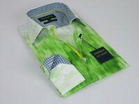 Men Inserch Cotton Shirt Long Sleeves Summer Cool 2318 Green white New Soft sale