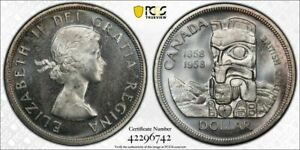 1958 Canada $1 Dollar British Columbia PCGS MS65 Lot#G1183 Silver! Gem BU!