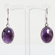 925 Sterling Silver Semi-Precious Natural Stone Purple Amethyst Drop Earrings