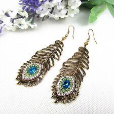Women Retro Rhinestone Peacock Feather Shape Statement Hook Dangle Earrings Cute