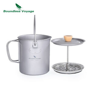 Outdoor Camping Titanium Coffee Cup with French Press Device Filter Camp Tea Mug