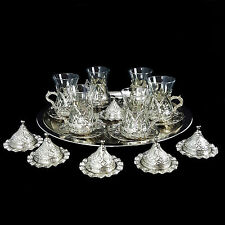Turkish ottoman silver brass thé café soucoupes tasses plateau set-uk vendeur