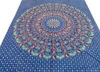 Éléphants Couvre-lit indien Bleu Dessus de lit Tenture murale Coton Jeté lit J7