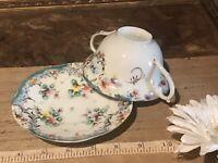 Antique Vintage Hand Painted Floral & Gold, Thin Porcelain Cup & Saucer